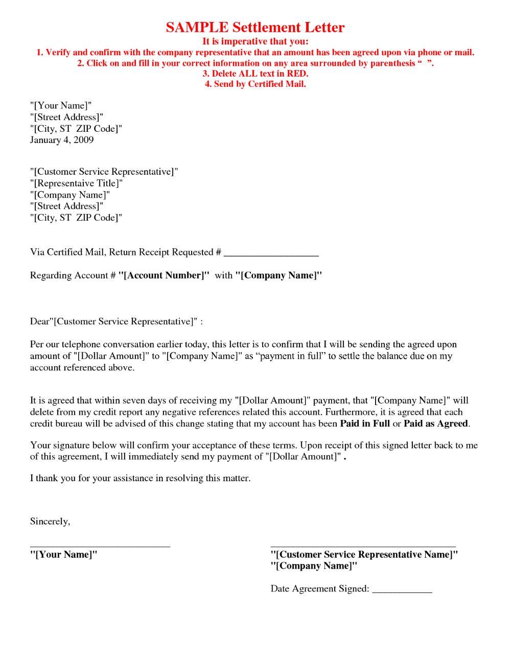Settlement Agreement Letter Template Lettering Credit Repair Letters Debt Settlement