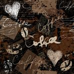 Seamless background pattern. Will tile endlessly. Grunge collage with original inscriptions coffee.