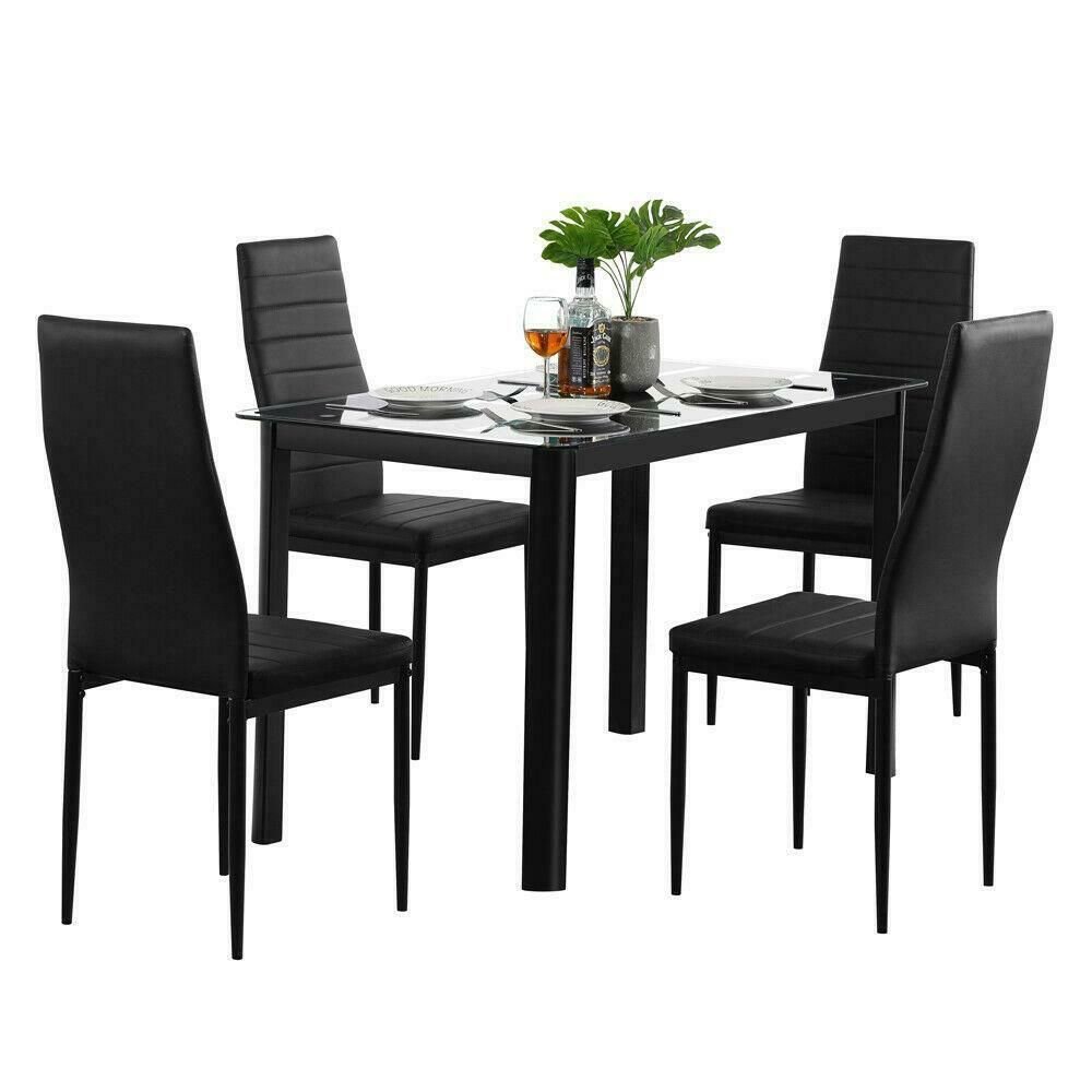 5 Piece Dining Table Set 4 Chair Glass Metal Kitchen Room Breakfast New Ebay In 2021 Glass Dining Table Set Cheap Dining Room Sets Glass Dining Table Cheap dining table and chairs set
