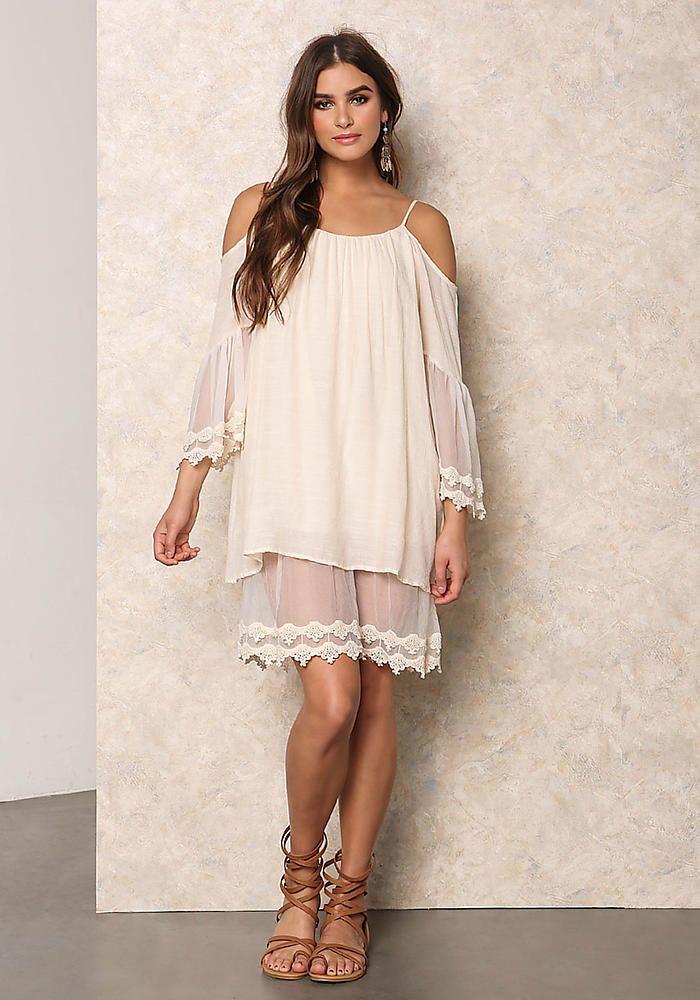 d208244e8df Cream Gauze   Sheer Embroidered Cold Shoulder Dress
