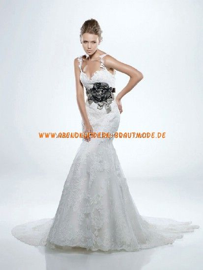 Sexy rückenfreie Brautkleider 2013 mit Blume und Band mit Schleppe ...