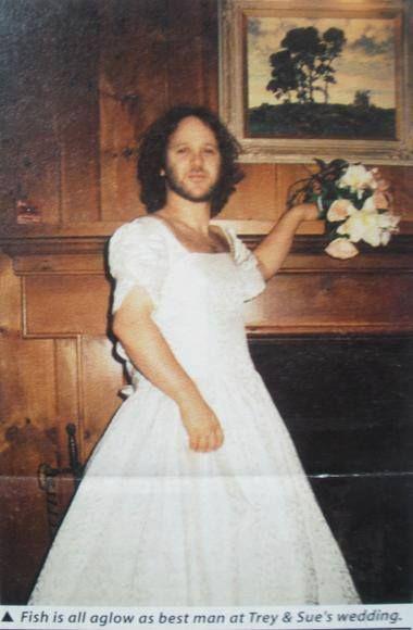 Fish in Trey's wife's wedding dress