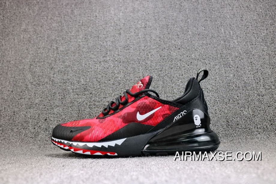 watch 44eb4 535ac Japanese Camo Bape A Bathing APE X Nike Air Max 270 Collaboration Heel Half- palm As Jogging Shoes Red Shark Camo Men Shoes AH6799-016 New Release