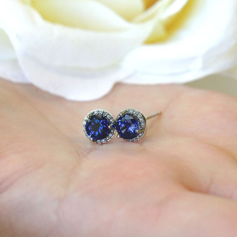 Man Made Diamonds For Mother S Day Lab Created Blue Shire Diamond Halo Earrings