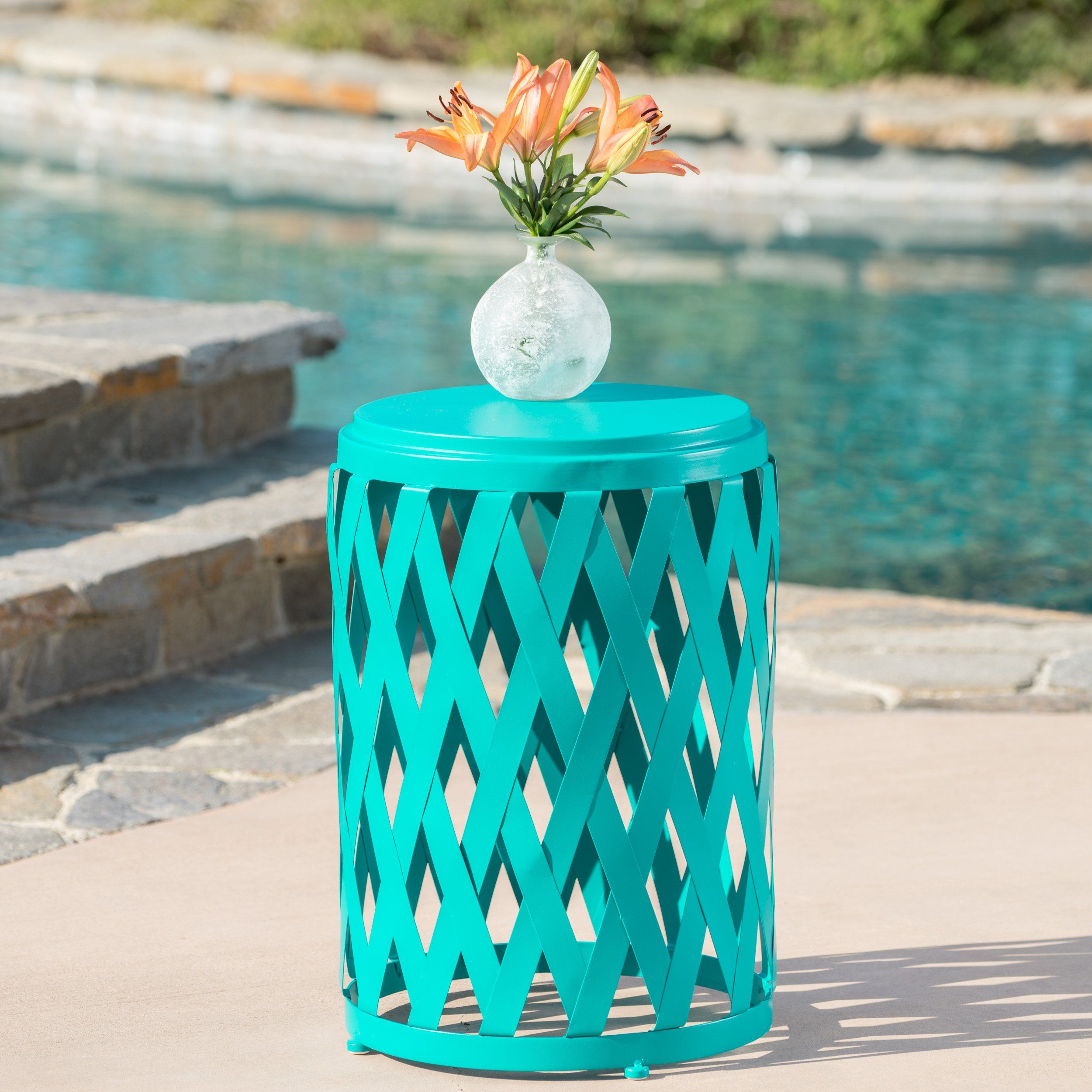Ellen Outdoor Iron Side Table 12 Inch Or 14 Inch Diameter 14 Inch Diameter Matte Teal