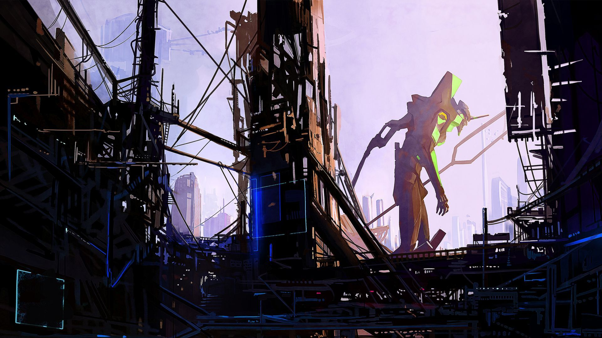 Robot City 4k Horizontal Neon Genesis Evangelion Evangelion Background Images