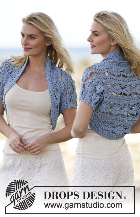 Blue Wonder - Crochet DROPS shoulder piece in \