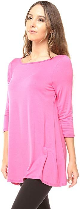 0b767715e36 Free to Live Women's Extra Long Flowy Elbow Sleeve Jersey Tunic Made in USA  (1X, Rose) at Amazon Women's Clothing store: