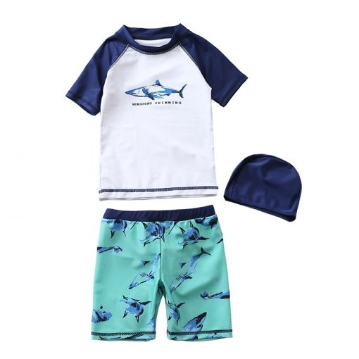 8f577f897a Kid Boys Print Sharks Swimwear Sets Short Sleeve Top and Shorts With Swim  Cap