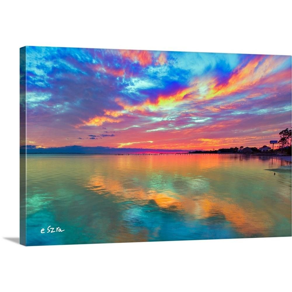 "GreatBigCanvas ""Pink Sunset Sea-Beautiful Sunrise-Cloud Streaks"" by Eszra Tanner Canvas Wall Art 2528529_24_24x16 - The Home Depot"
