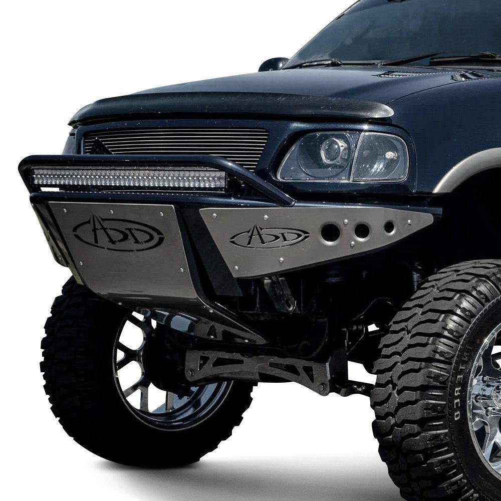 Addictive Desert Designs Stealth Full Width Black Front Pre Runner Bumper With Hoop Ford F150 Jeep Bumpers Ford