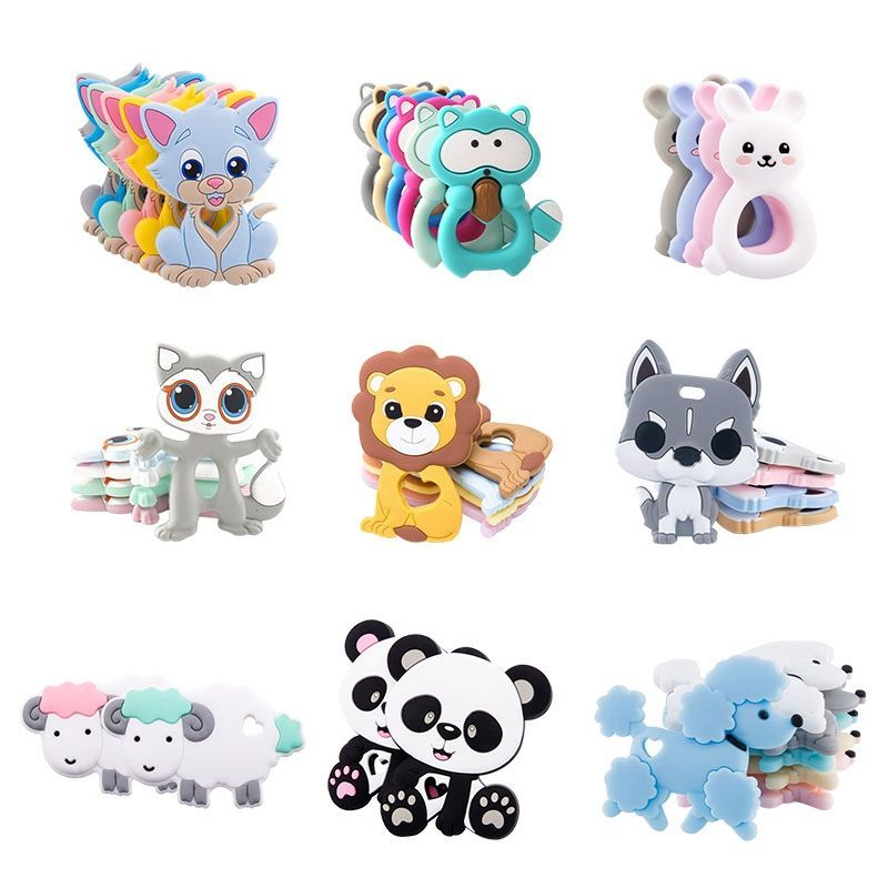 Baby teether food grade silicone rodent lion shape diy