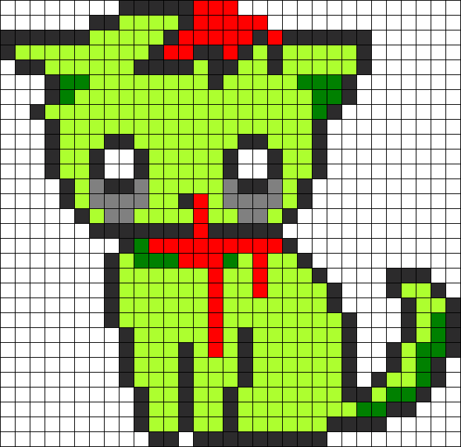 Zombie Kitty Perler Bead Pattern Pixel Art Grid Easy