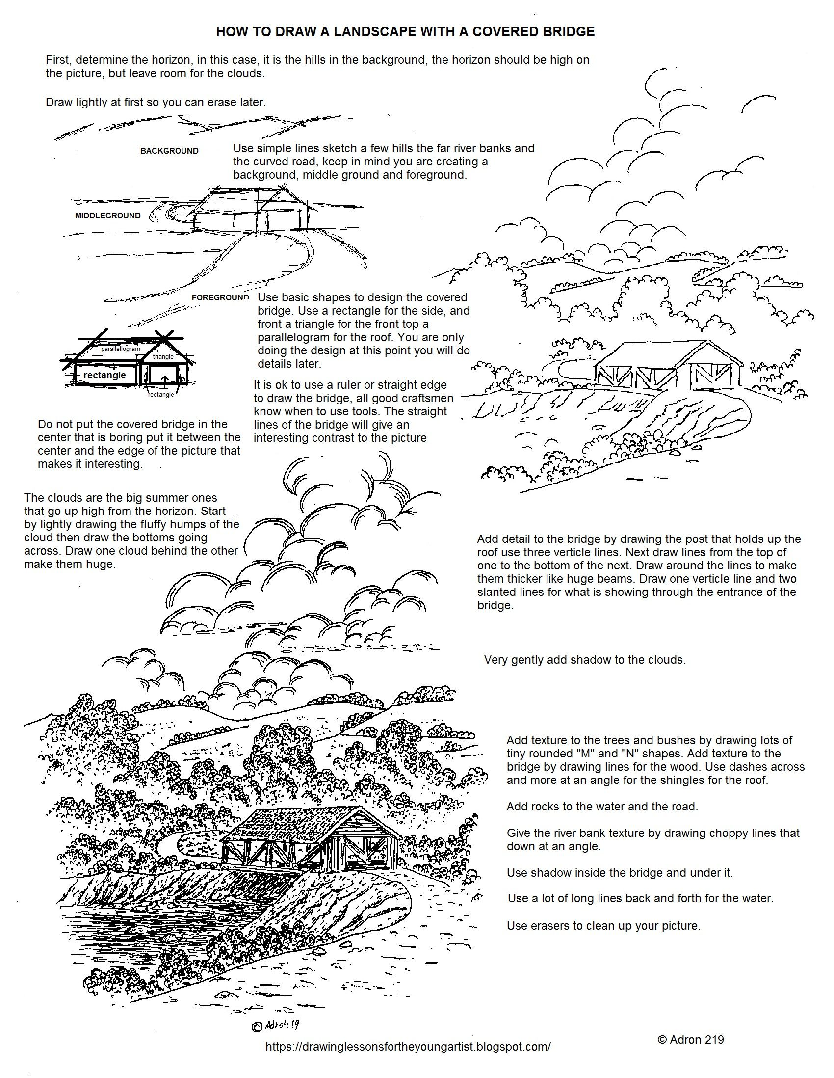 How To Draw A Landscape With A Covered Bridge Worksheet