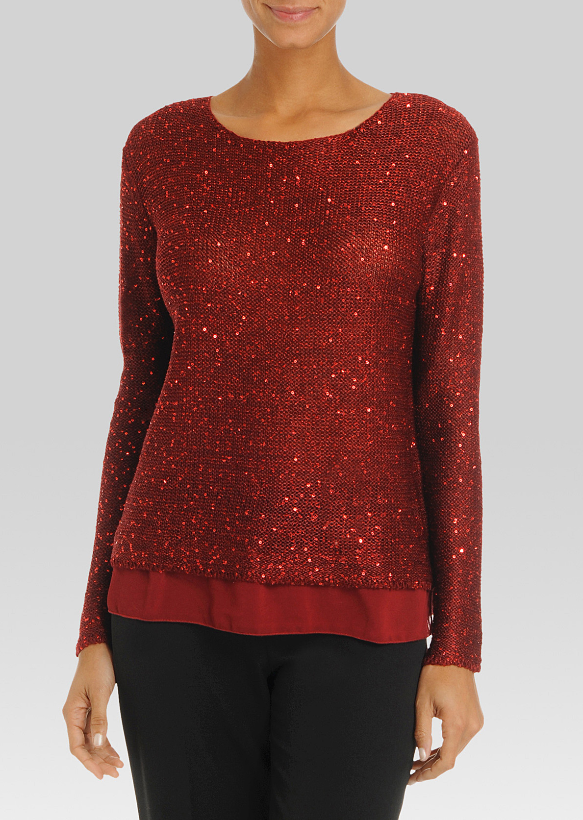 Le pull paillette insertion chiffon 58$