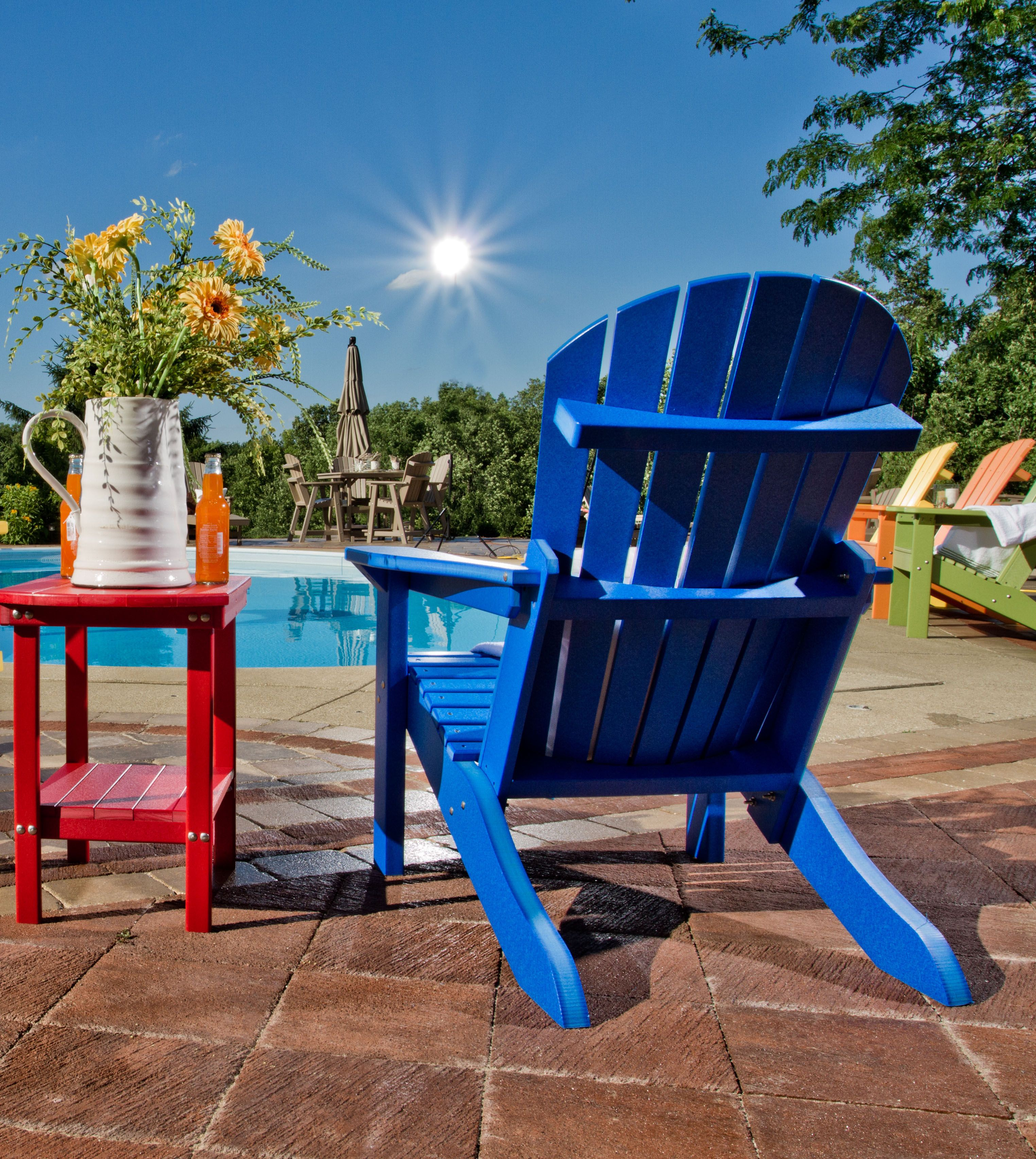 This Bright Blue Adirondack Chair Calls For An Afternoon By The Pool    Available At Shed Solutions Calgary | Edmonton