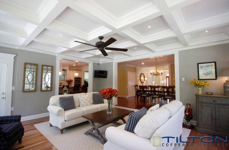 13 Gorgeous Rooms With Custom Coffered Ceilings By CEILTRIM Inc And Tilton Ceiling IdeasCeiling DesignCeiling FanGray Living