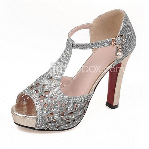 Shoes For Women Glitter Stiletto Heel Heels Sandals Party Evening Dress Casual Black Silver