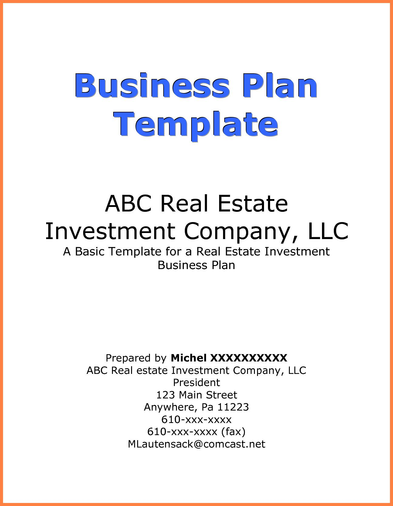 20 Business Plan Cover Page Template In 2020 Marketing Plan