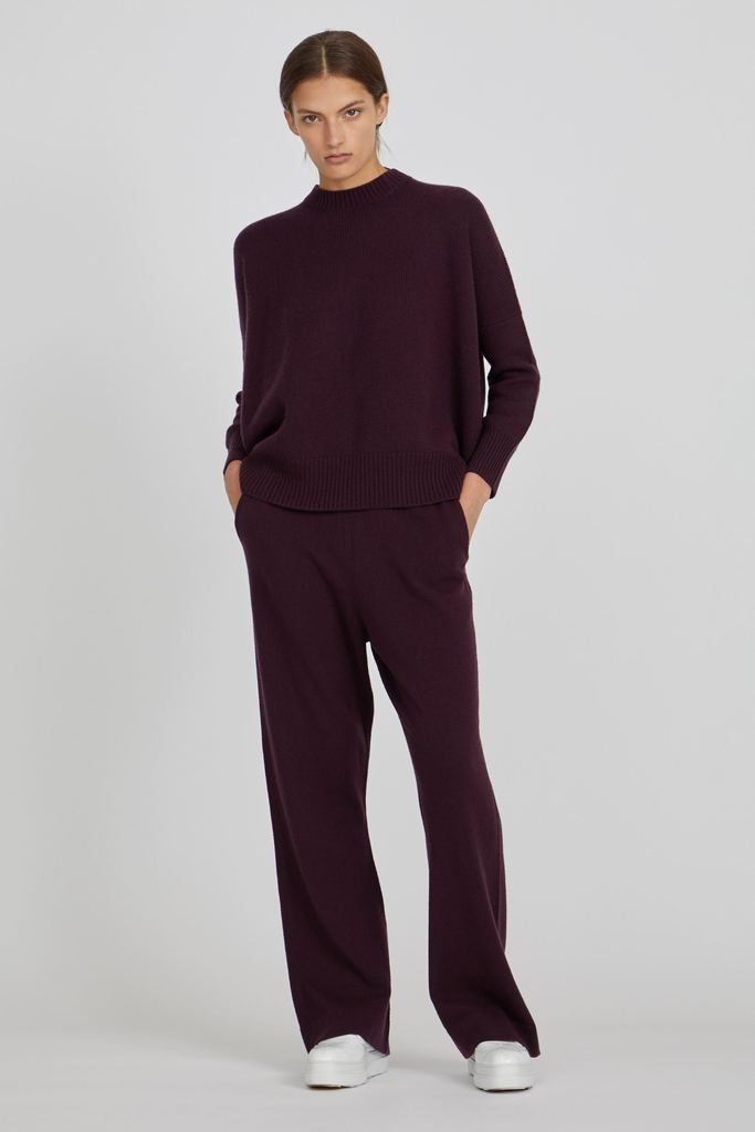 a599d28d76f5 Aila Jersey Knit Cashmere Pullover in Wine