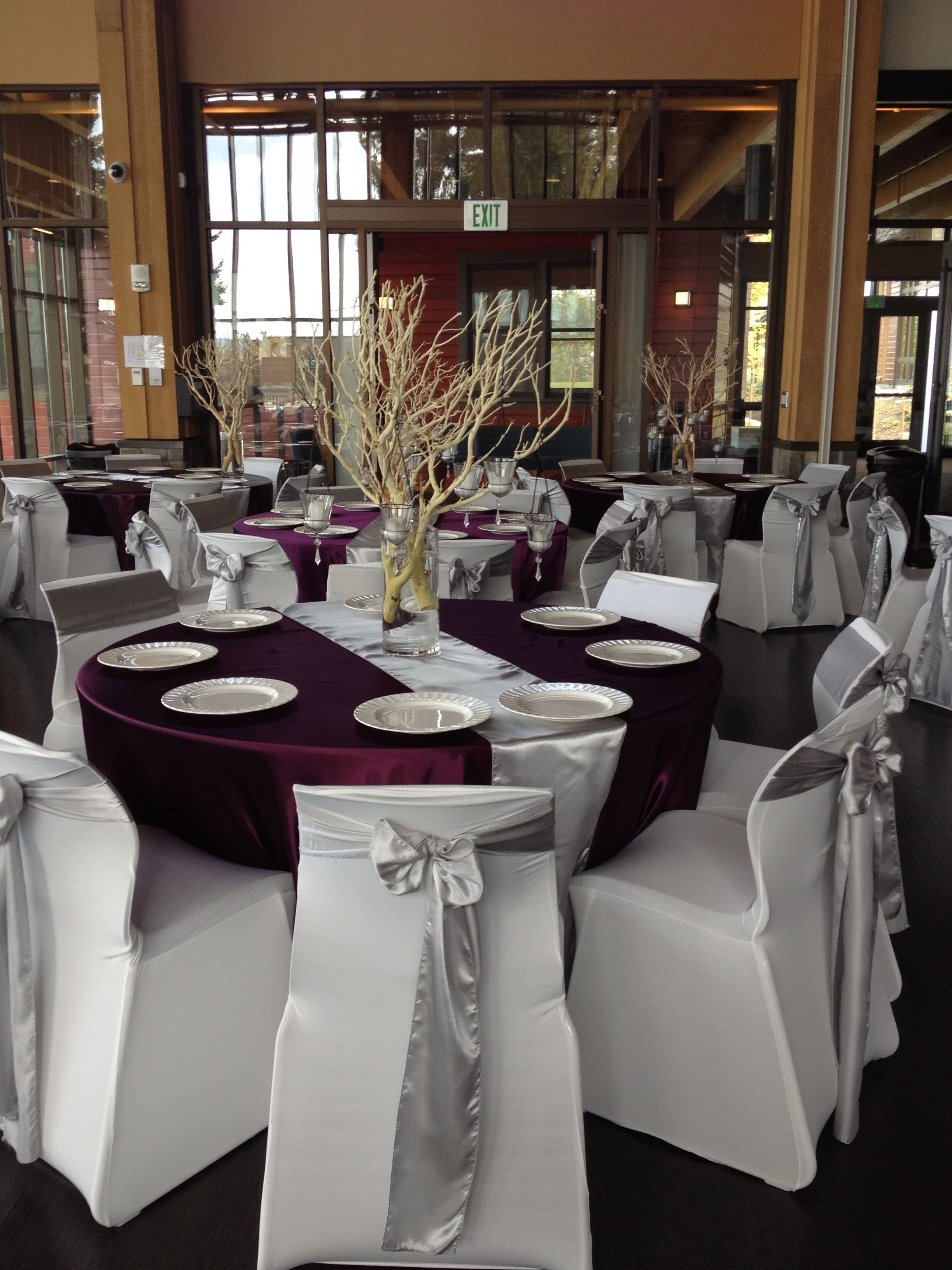 Eggplant Purple And Silver Wedding Decor I Would Do Without The But Like Idea Just Branches Candles In Middle
