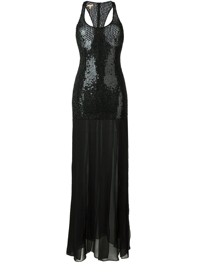 Michael kors sequin embellished long dress ml black dresses