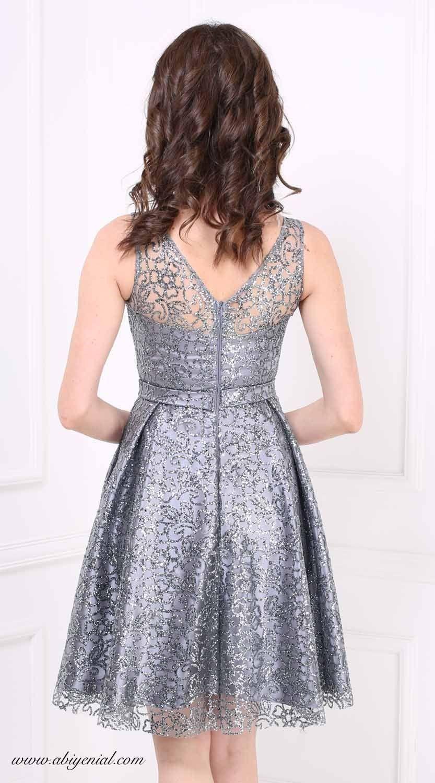 Abiyenial Koyu Gri Kisa Abiye Elbise Aksamustu Giysileri The Dress Elbise