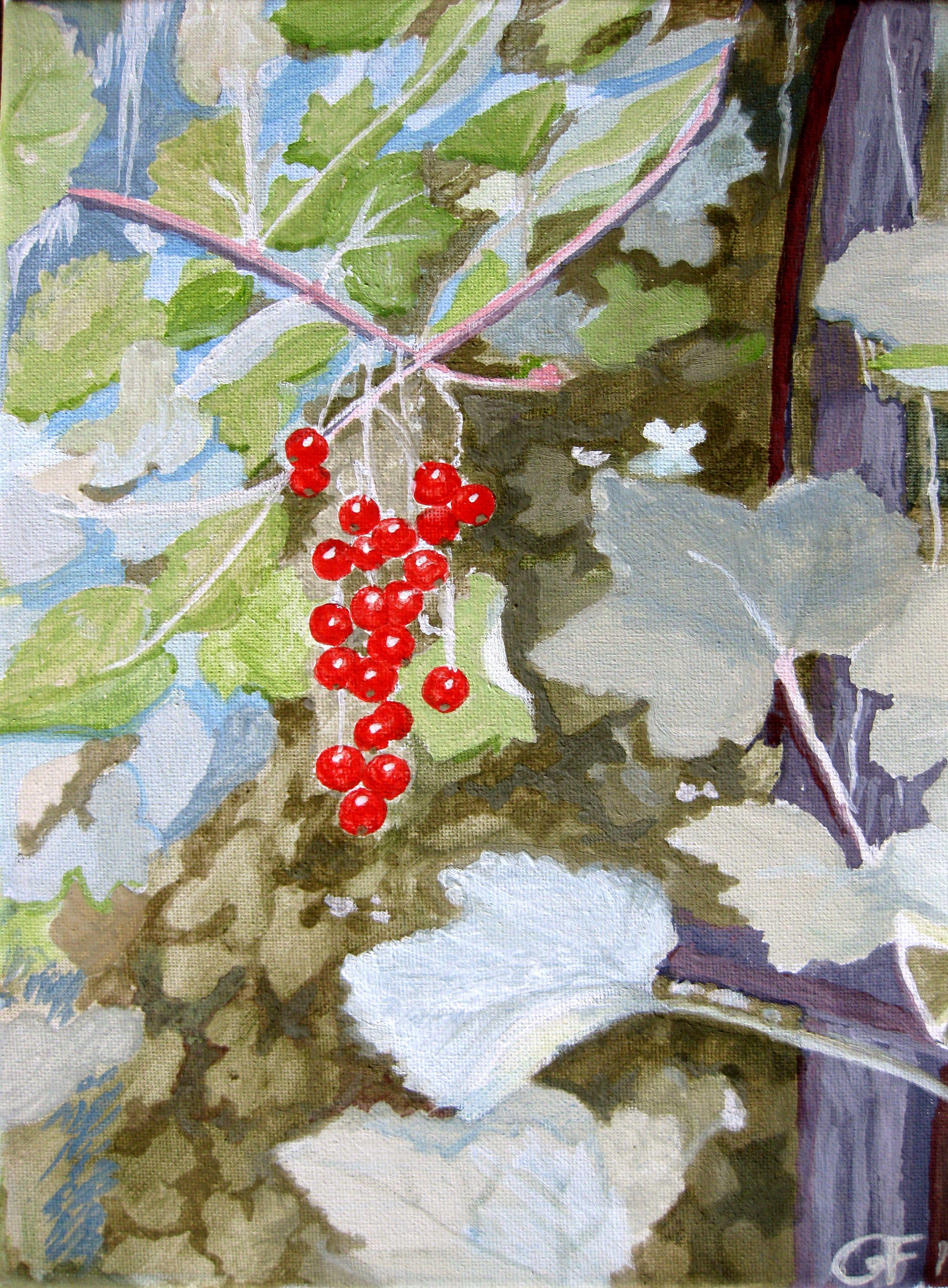 I vinbärsbusken / In the currant bush Egg oil tempera