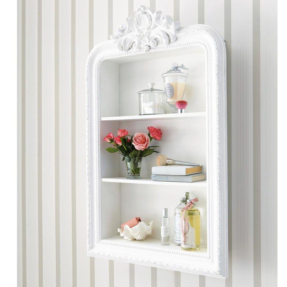 Étagère sculptée blanche L 79 cm | Romantique | Wooden shelf unit ...