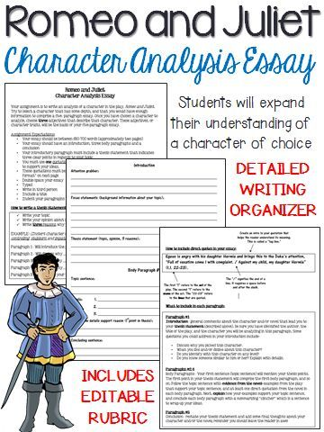 Romeo and Juliet Character Analysis, Five-Paragraph Essay - character analysis