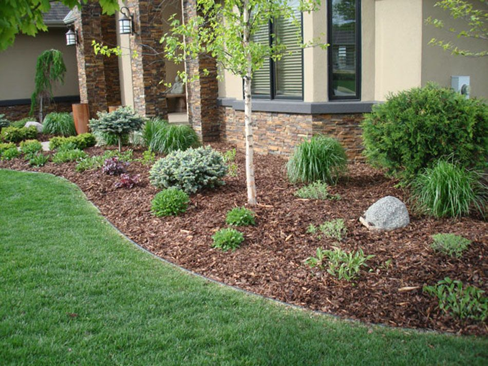 Great Cream Painted House Design With Garden And Best Mulch For