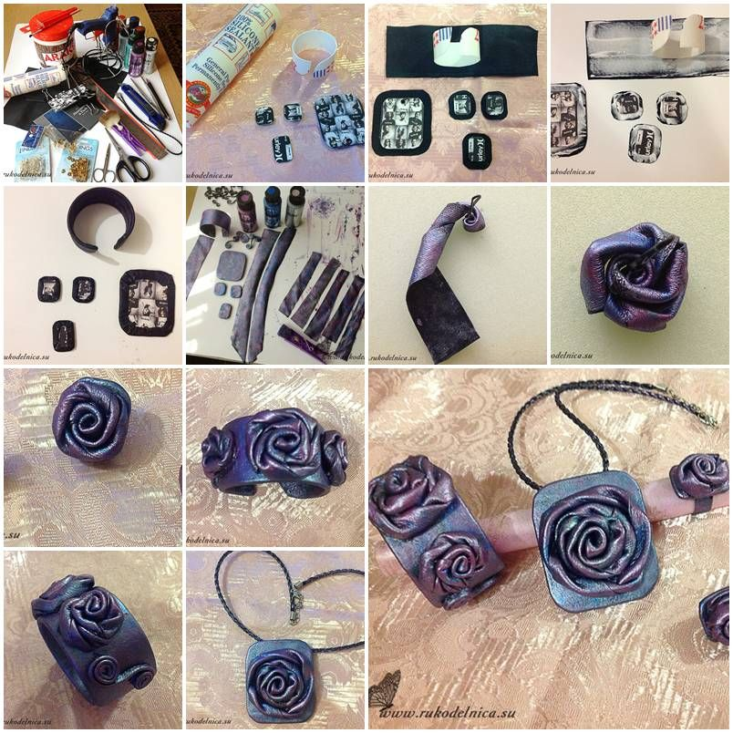 How to make Leather Jewelry Set step by step DIY tutorial ...