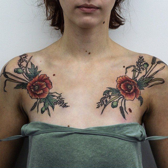 Olga Nekrasova Poppies Poppy Anemone Chest Tattoo Floral Flower Buds Grass  Poppies Tattoo, Nature Tattoos, Flower Tattoo Back-5812