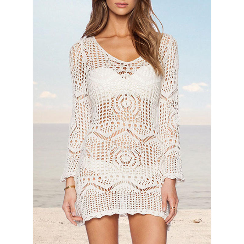 e85d33f6836b2 VERYVOGA Solid Color Print Round Neck Elegant Cover-ups Swimsuits ...