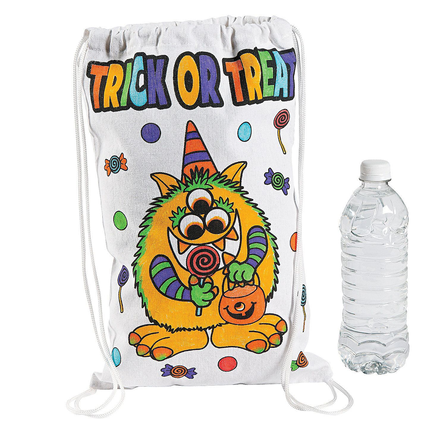 Color Your Own Medium Trick Or Treat Drawstring Bags