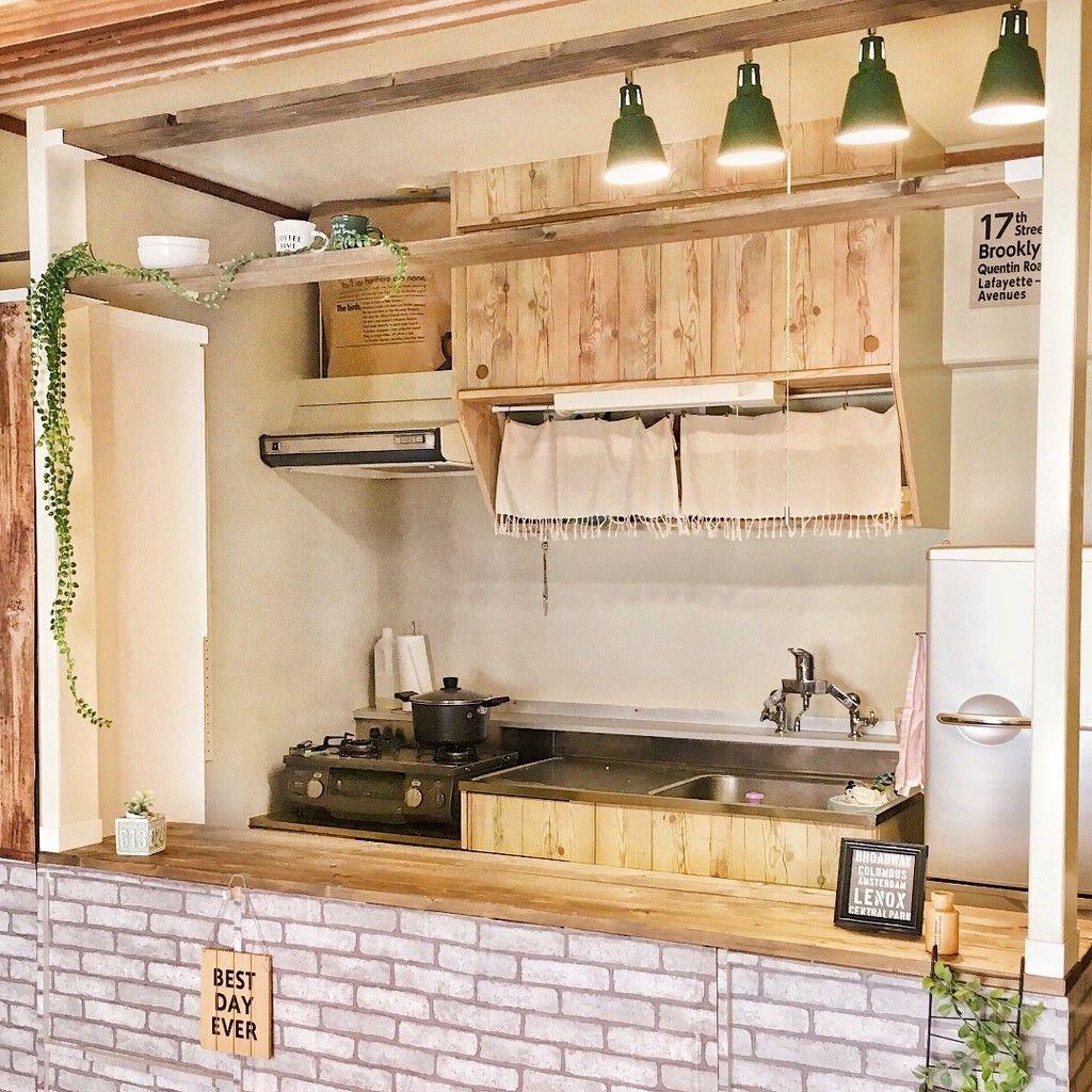 築38年のキッチンを540円でおしゃれ木目調に大変身 インテリア 収納 古い キッチン キッチン