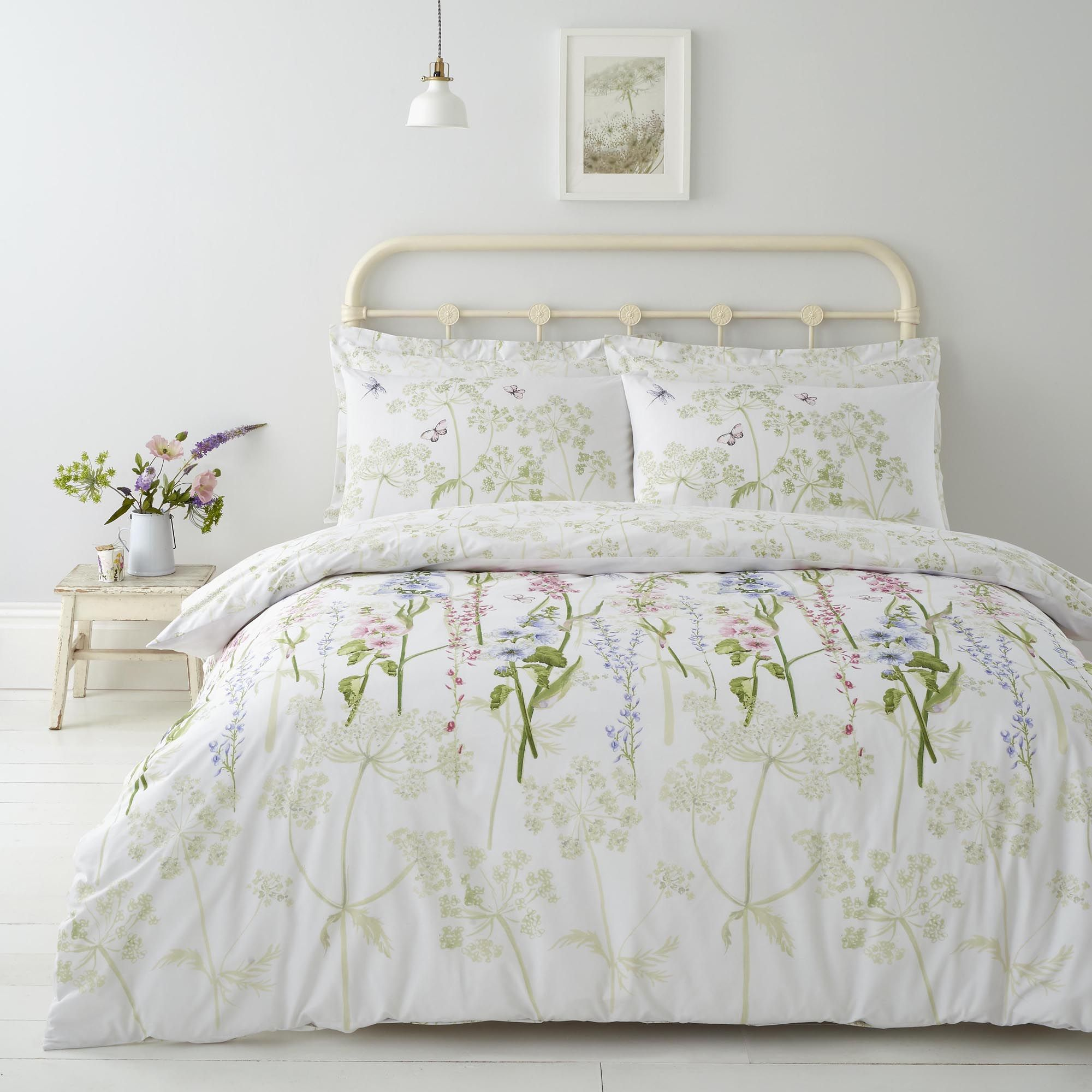Felicity White Floral Reversible 100 Cotton Duvet Cover And Pillowcase Set Pink Duvet Cover 100 Cotton Duvet Covers Duvet Sets