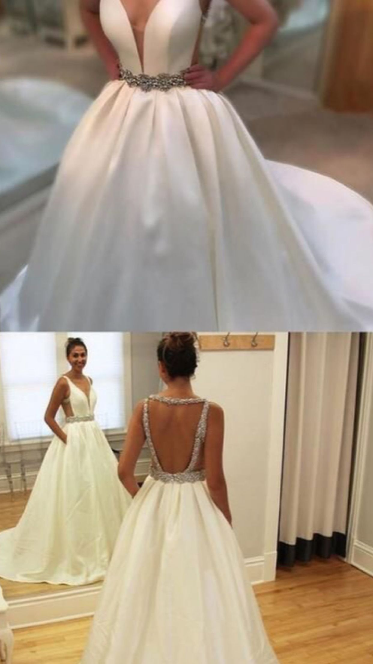 Satin backless wedding dress  Delicate  Wedding Dresses Satin Rhinestones Belt Modest Satin