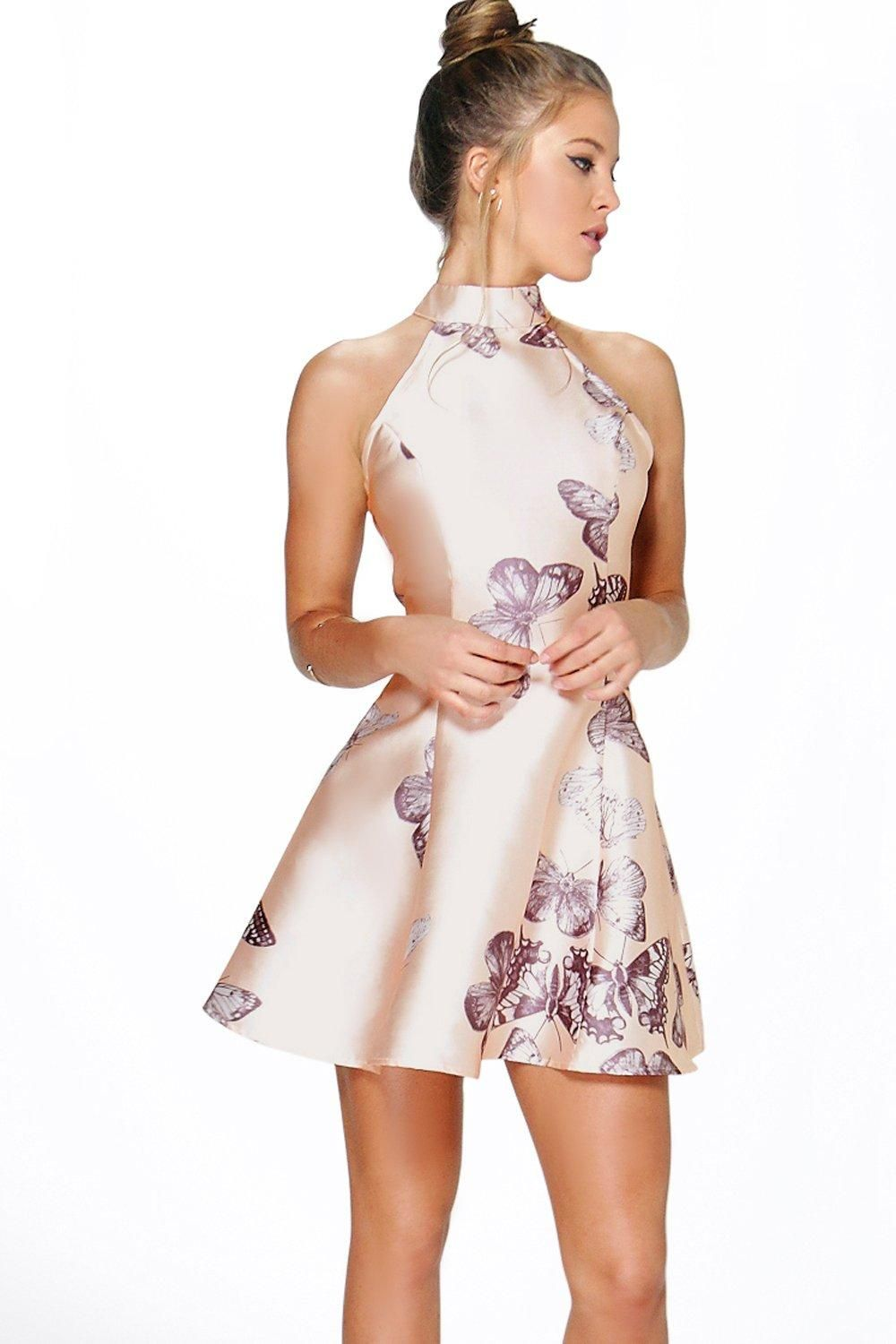 Silvia Sateen Butterfly Print Fit and Flare Dress | Modern bohemian ...