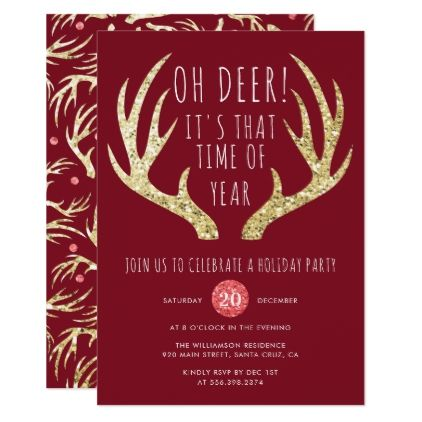 Deer Antlers Christmas Holiday Party Invitation  Invitation Ideas
