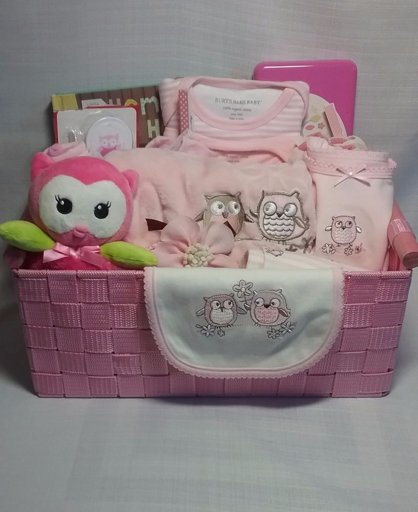 Baby girl gift basket owl theme baby shower gift ideas baby girl gift basket owl theme negle Image collections