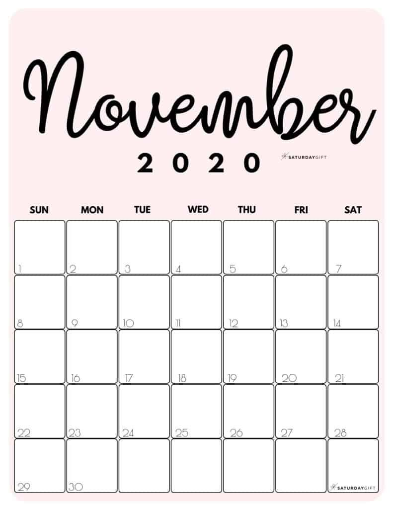 Printable Calendar By Month In 20 Cute Colors   SaturdayGift ...