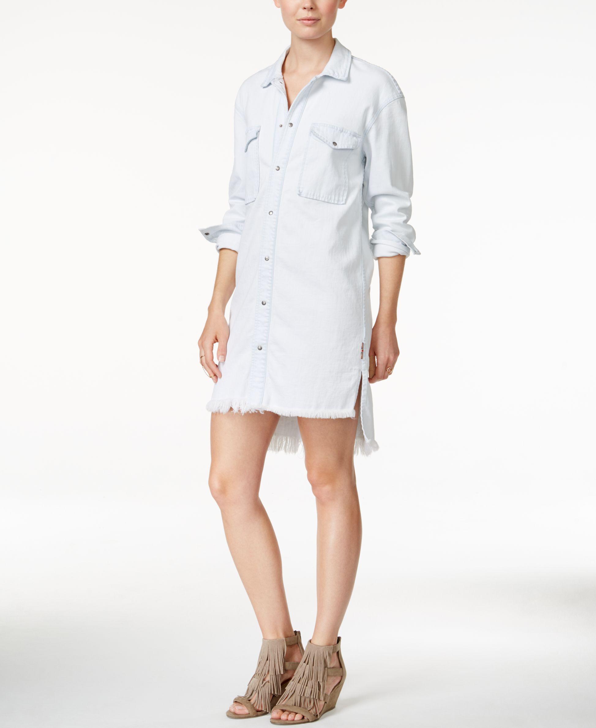 Hudson Jeans Frayed-Hem Denim Shirtdress