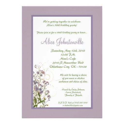 5x7 Purple Iris Flower Birthday Party Invitation Flower Themed