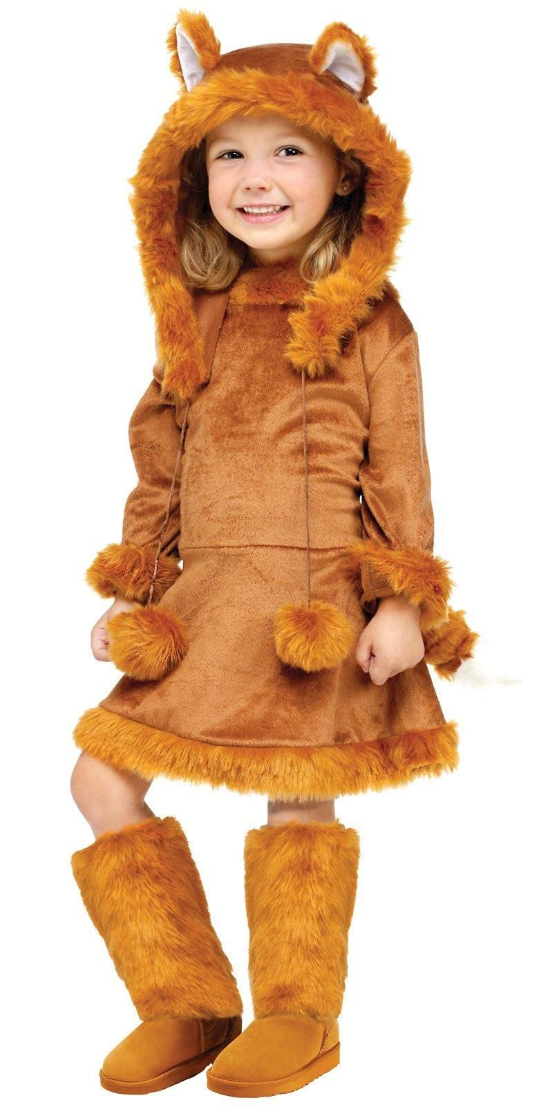 Fun World Costumes Baby Girlu0027s Sweet Fox Toddler Costume Includes Dress Plush Tail Boot Covers and Hood with Ears and Poms Toddler/Child Size  sc 1 st  Pinterest : girls wolf costumes  - Germanpascual.Com