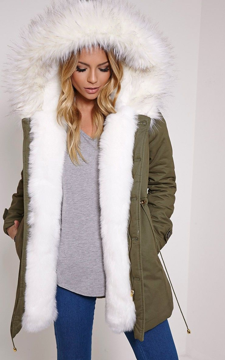 fur lined parka | Jen Cream Fur Lined Premium Parka Coat - Coats