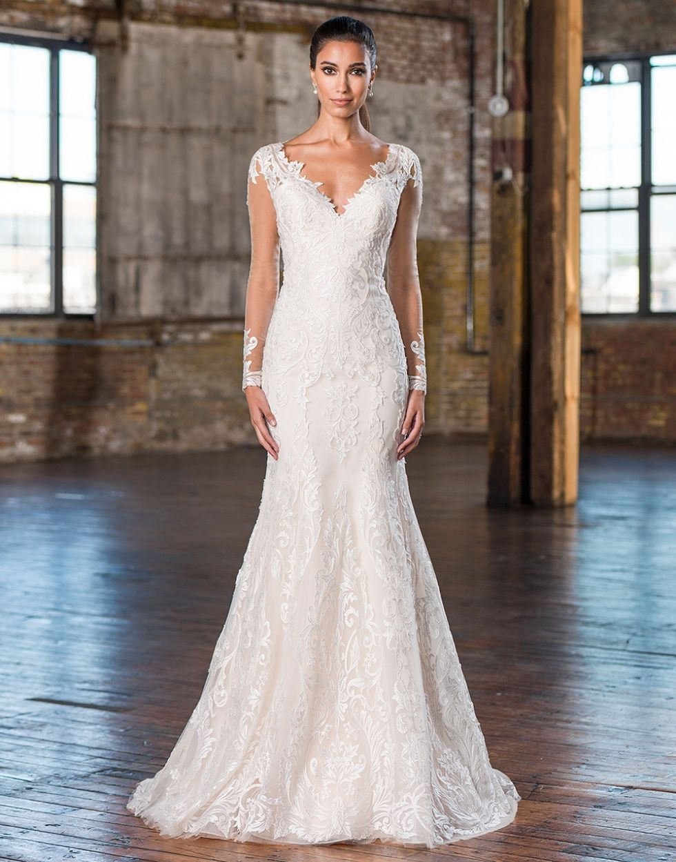 long sleeve wedding dress with v neck and lace top to bottom. Sheath ...