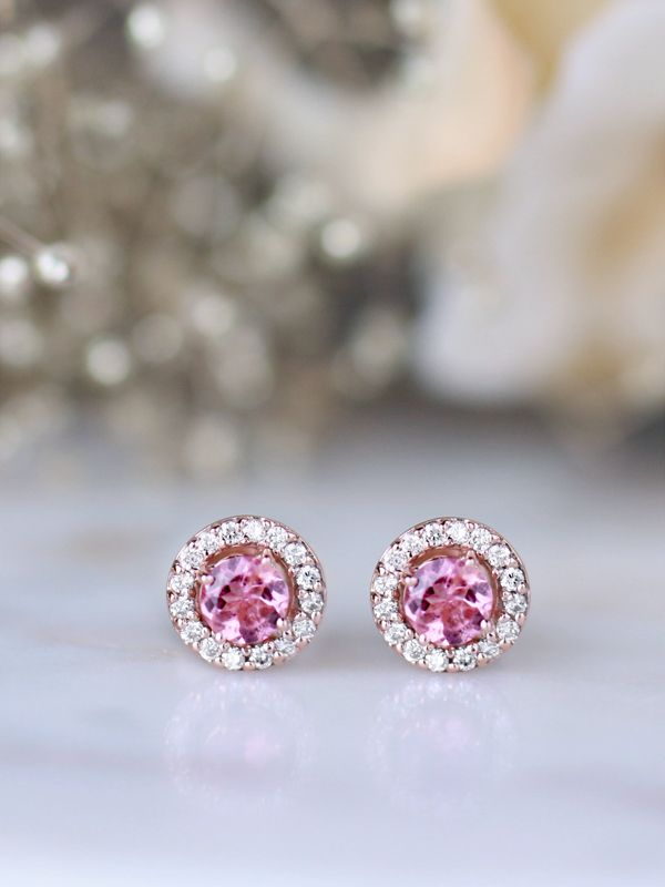 1 Carat Pink Diamond Halo Stud Earrings