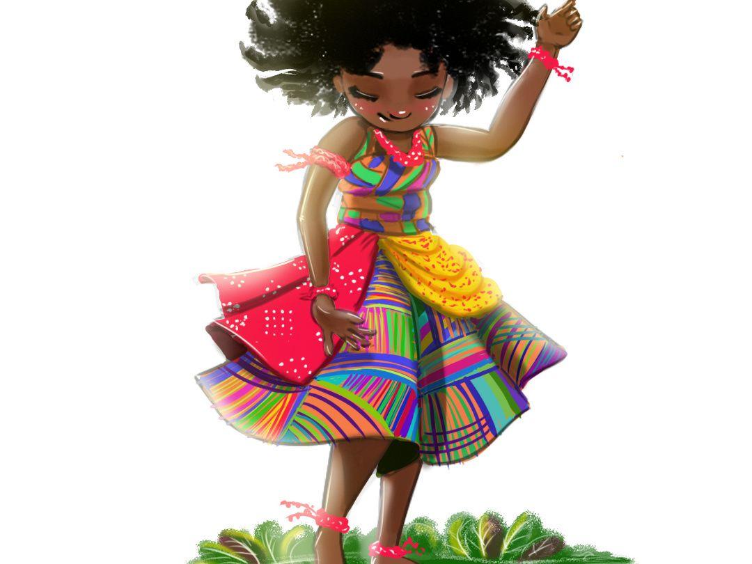 Dancing little girl little girl drawing african american digital ...