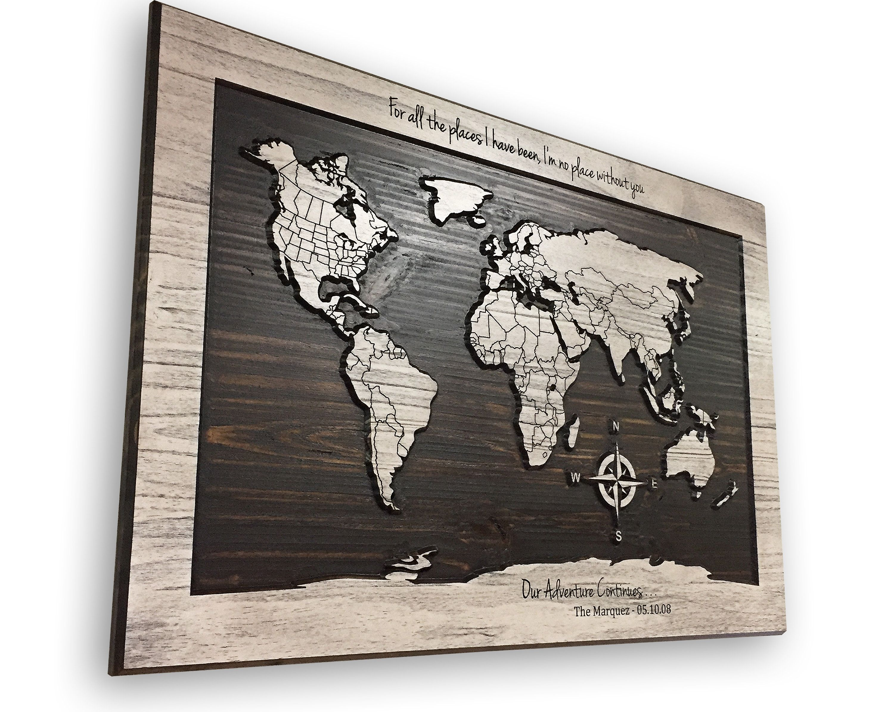 World map art home wall decor customize text country lines world map art home wall decor customize text country lines compass art adventure travel push pin mark locations anniversary gift gumiabroncs Choice Image